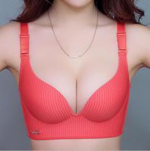 new Summer Sexy Woman Young Girl Cute bra Printed Striped Push Up Bra French Romantic Gathered wireless push up bra underwear