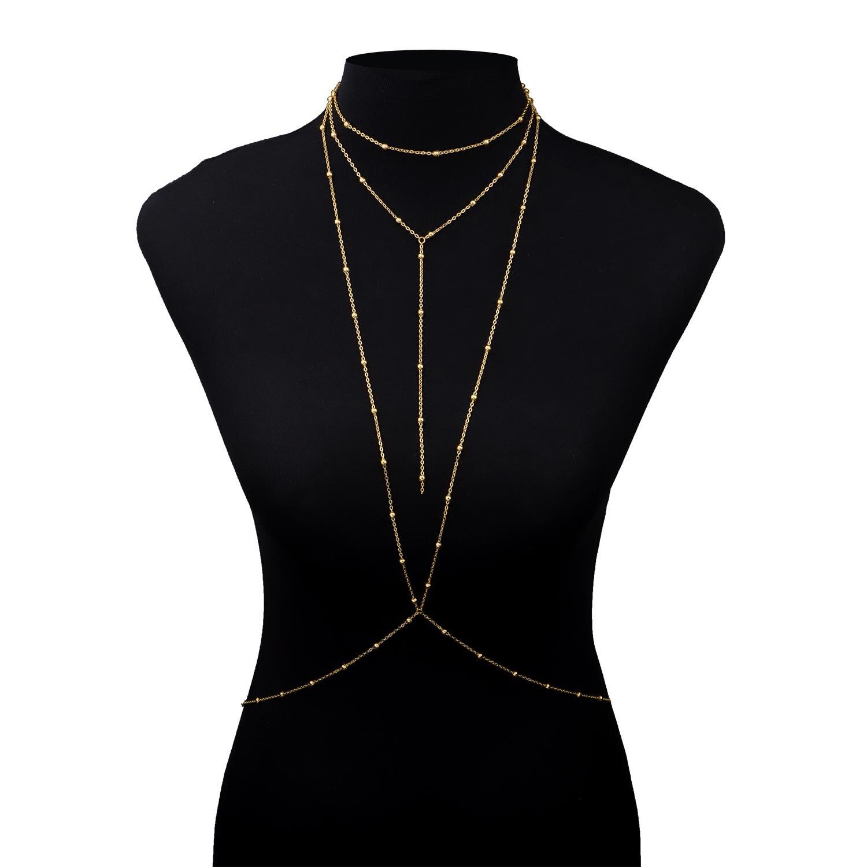 Модные-Золото-звено-цепи-бюстгальтер-многослойных-сексуальное-пляжная-портупея-для-Бикини-v-ожерелья-для-женщин-ювелирное-изделие-подаро