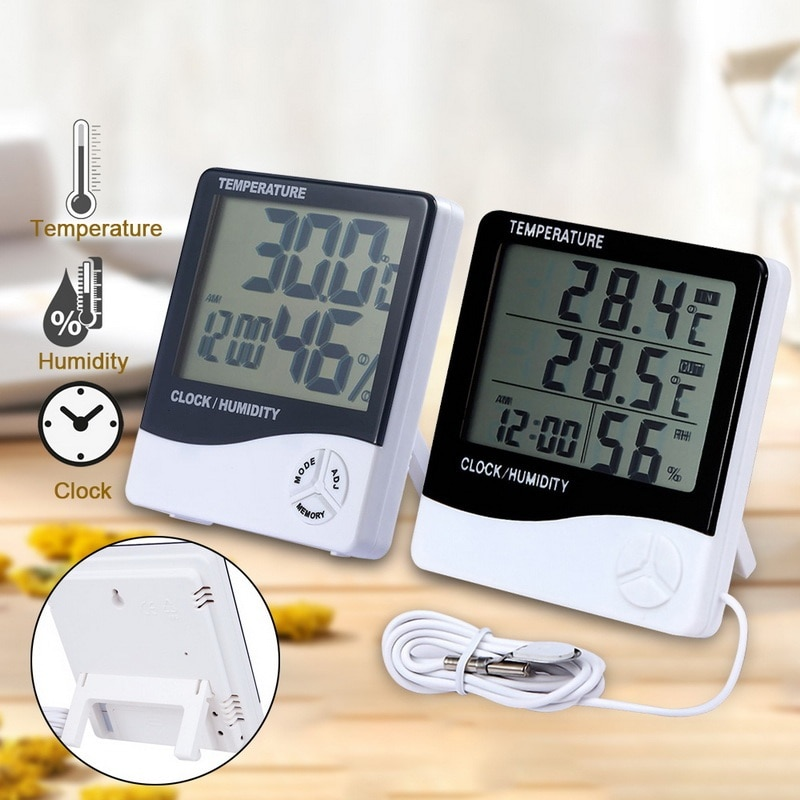 Digital Thermometer Hygrometer with LCD Display Temperature Humidity Meter Indoor Outdoor 1Pcs