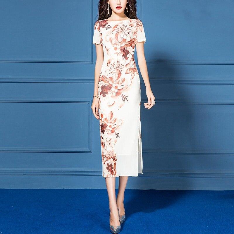 Vestidos de chifón para mujer, verano 2020, novedad, cintura alta, estampado entallado, manga corta, cuello redondo, vestido ceñido largo para mujer