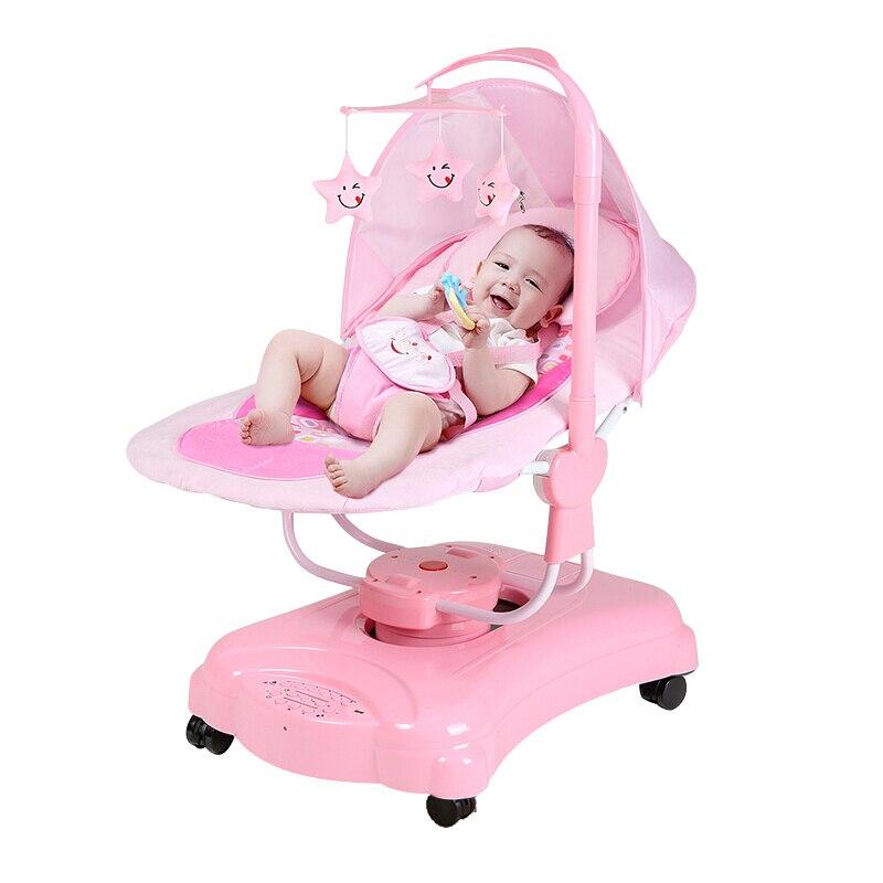 0500 mecedora eléctrica para niños, cuna de bebé para dormir, cuna inteligente automática para niños con Bluetooth