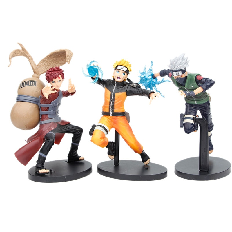 model fans inflames toys naruto 30cm height 1 6 hatake kakashi contain two head action figure toy for collection Naruto Figure Uzumaki Naruto Gaara Hatake Kakashi PVC Action Figure Doll Collectible Model Toy Christmas Gift For Children