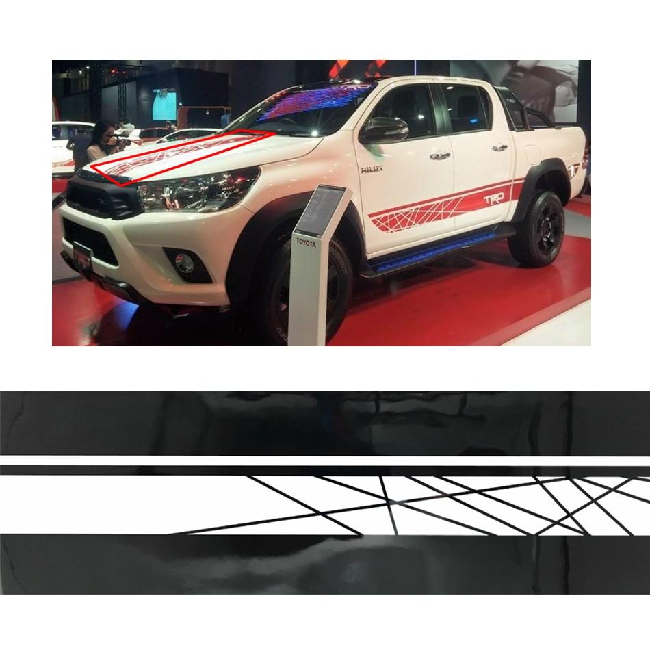 line racing styling side stripe graphic vinyl hood car sticker for toyota hilux revo vigo 2012-2019