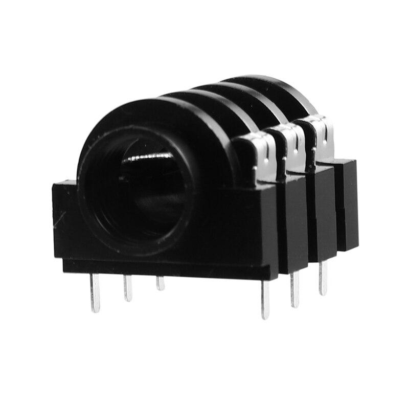 100 шт PJ-644C пластиковые аудио стерео 1/4 дюймов Джек с металлическим кольцом PCB терминал 6,35 мм микрофон/Аудио/разъем для наушников Promot