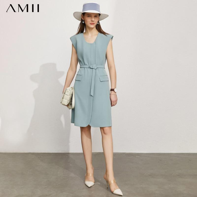 Платье женское летнее без рукавов, с круглым вырезом и карманами