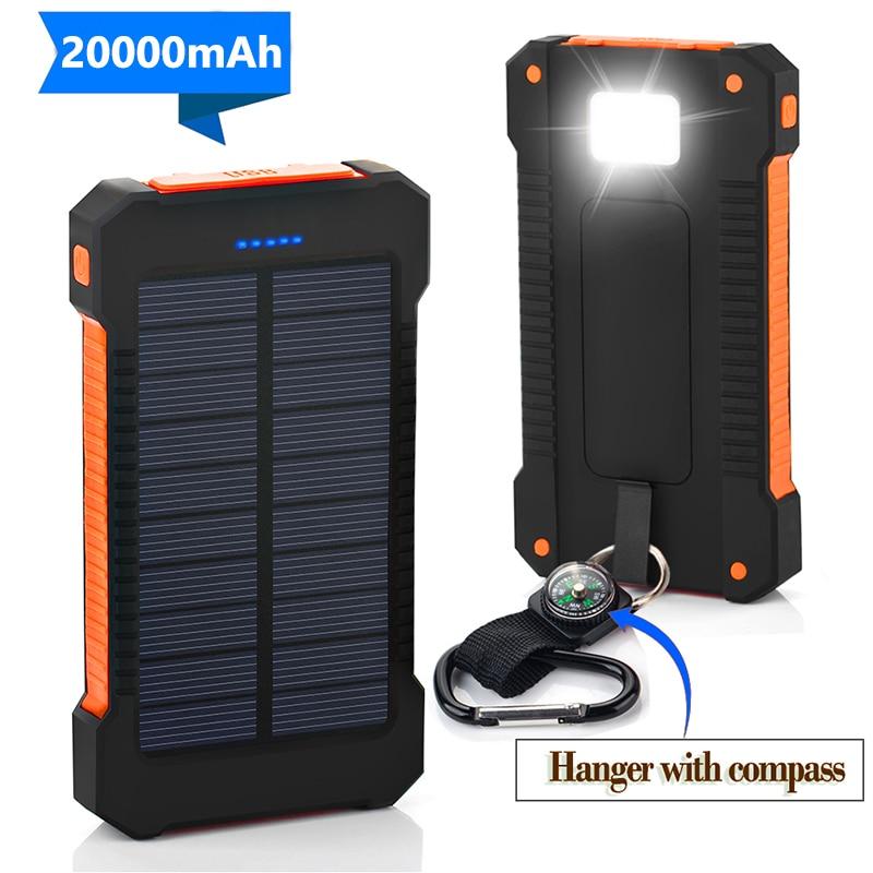 20000mAh Power Bank Solar Powerbank for iPhone  Samsung Xiaomi External Battery Poverbank Waterproof