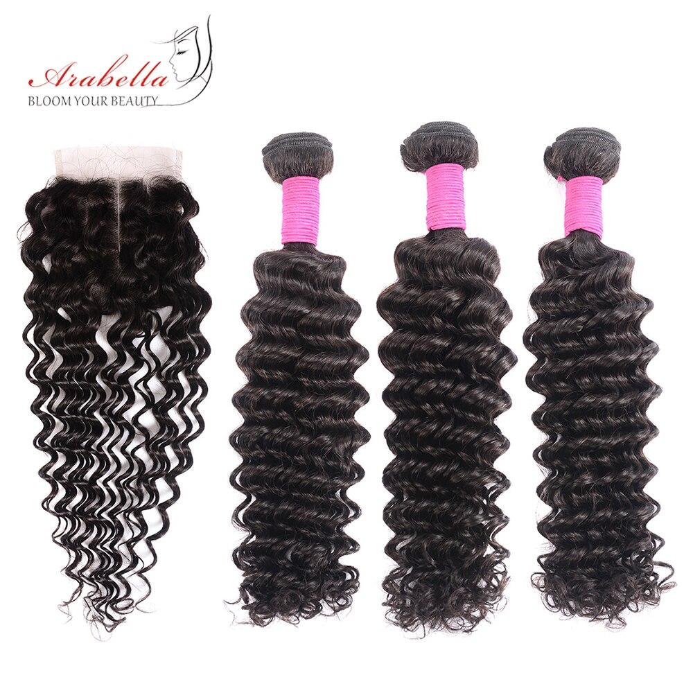 Onda profunda brasileira pacotes com fechamento arabella cor natural remy extensões do cabelo humano feixes de cabelo com 4*4 fechamento do laço