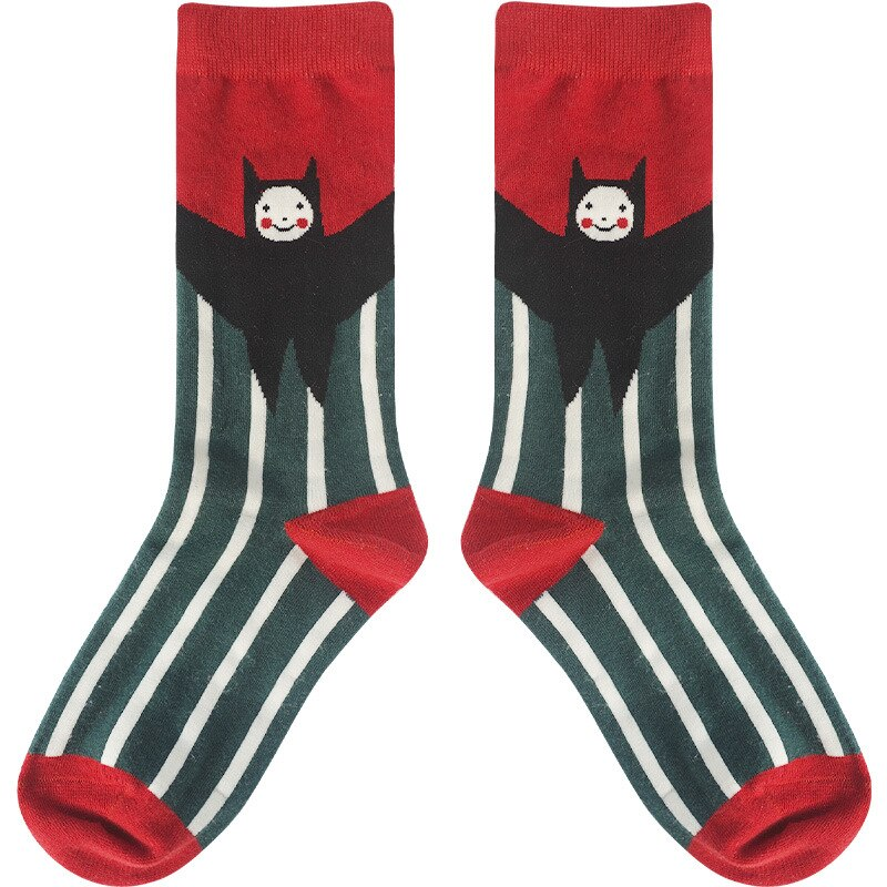 Cartoon Illustration Couple Socks for Women Bat Banana Leisure Cotton Sock Harajuku Hip Hop Street Skateboard Knee-socks Q1537