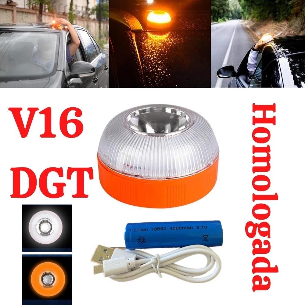 Аварийный свет v16, одобрен dgt, Автомобильный аварийный маячок, перезаряжаемый Магнитный индукционный стробоскоп