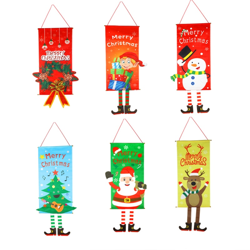 2x Merry Christmas Porch Door Banner Hanging Ornament Home Xmas Decors Happy New Year Sign Shopping Mall Bar Decor Garden Props
