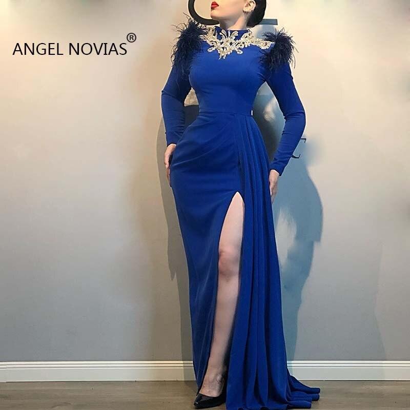 Vestidos de Noche azules reales de manga larga con cuello alto, Vestido...