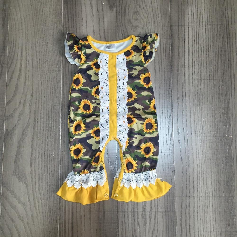 baby girls summer romper infant baby romper girls sunflower romper baby lace romper wholesale