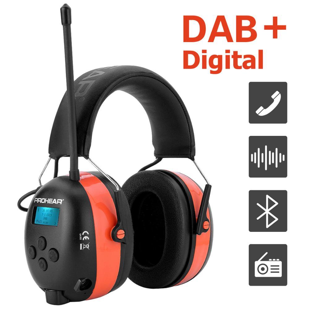 سماعات رأس ZOHAN DAB +/DAB/FM Dab سماعات حماية السمع راديو بلوتوث إلكتروني واقي أذن بطارية ليثيوم 25dB