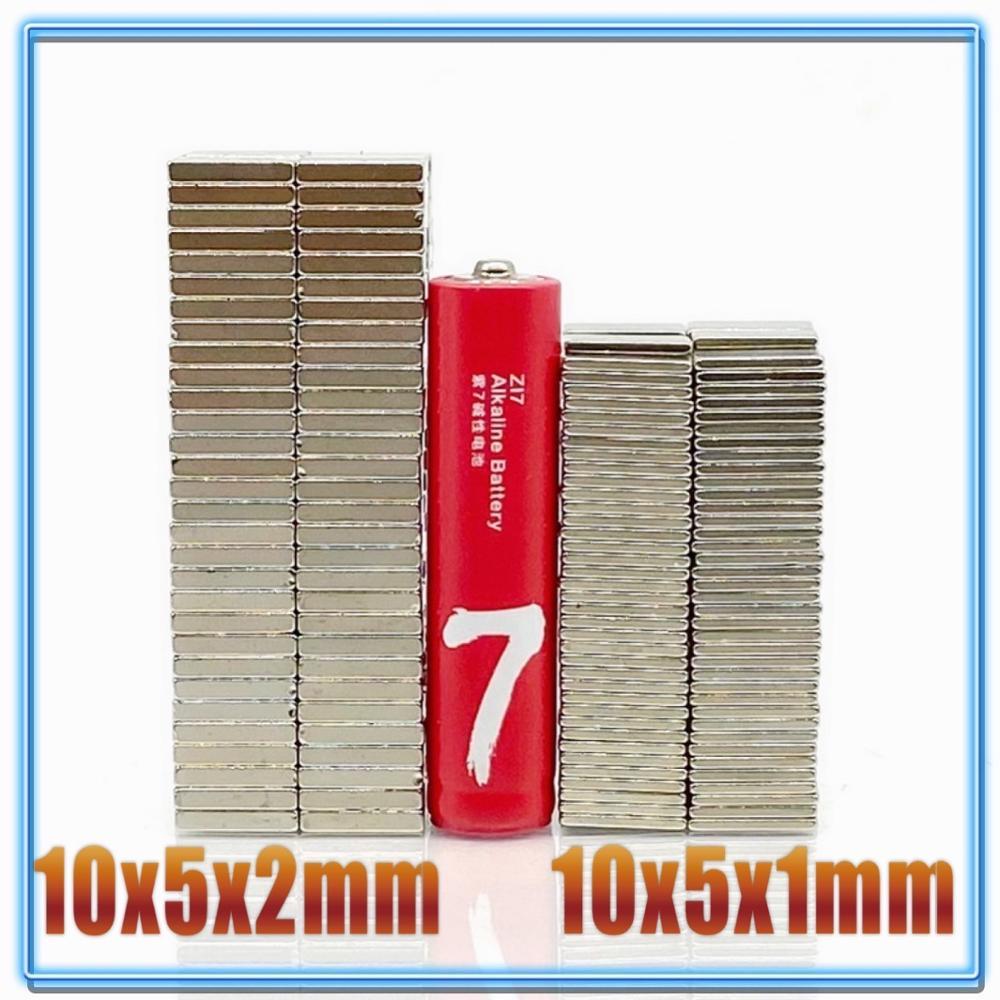20/50/100/200 Uds imán Rectangular 10x5x1mm 10x5x2mm N35 NdFeB bloque súper poderoso fuerte magnético permanente orientado a los