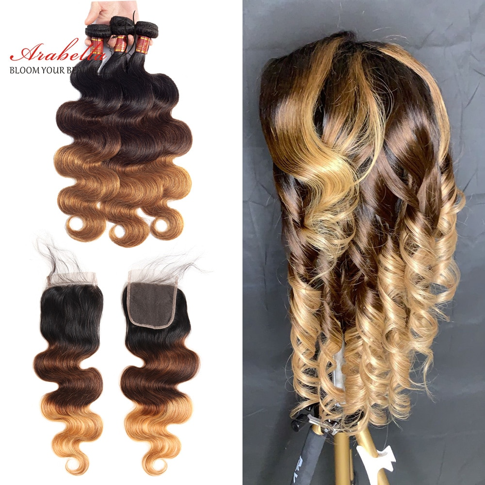T1B/4/27 Ombre Brazilian Human Hair Bundles With 4x4 Transparent Lace Closure Arabella Body Wave Remy Hair Weave With Closure