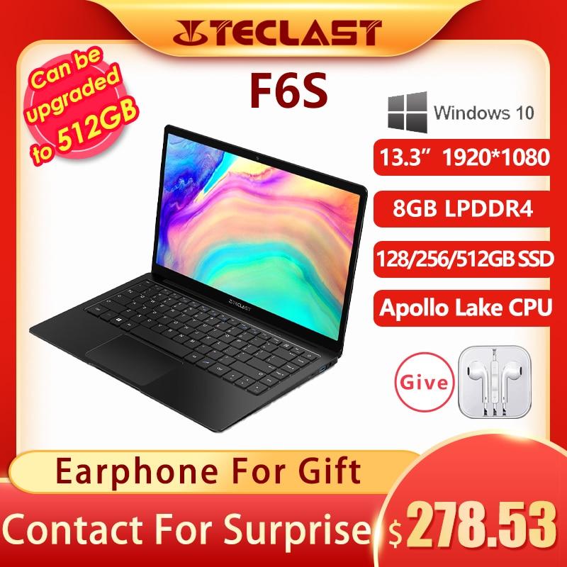Review Teclast F6S 13.3 Inch 1920×1080 FHD IPS Laptop Intel Apollo Lake Windows 10 Notebook 8GB LPDDR4 128GB 256GB 512GB SSD USB3.0