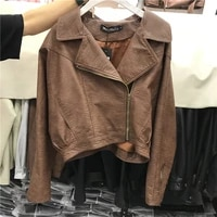 short loose faux pu leather jacket 2021 autumn women motorcycle biker coat female chic oblique zipper streetwear leather outwear