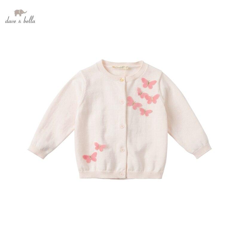 DB16715 нижнее белье в стиле бренда dave bella/комплект на весну и осень модная одежда для маленьких девочек с мультяшным проектом, кардиган для детей ясельного возраста, пальто для детей, милый вязаный свитер|Свитера| | АлиЭкспресс
