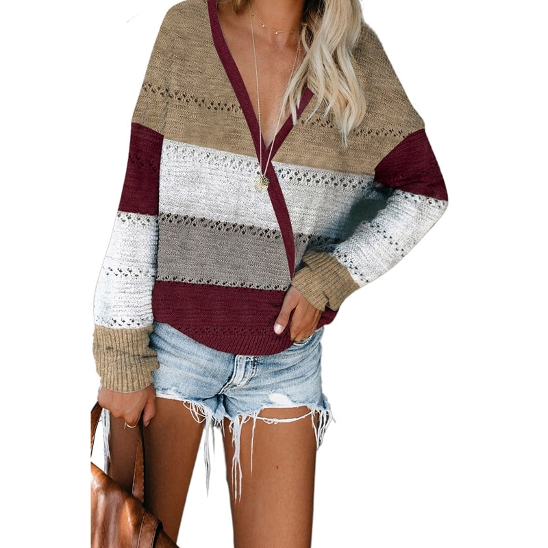 Women Long Sleeve Color Block Stripes Sweater Sexy V-Neck Hollow Knit Jumper Top enlarge