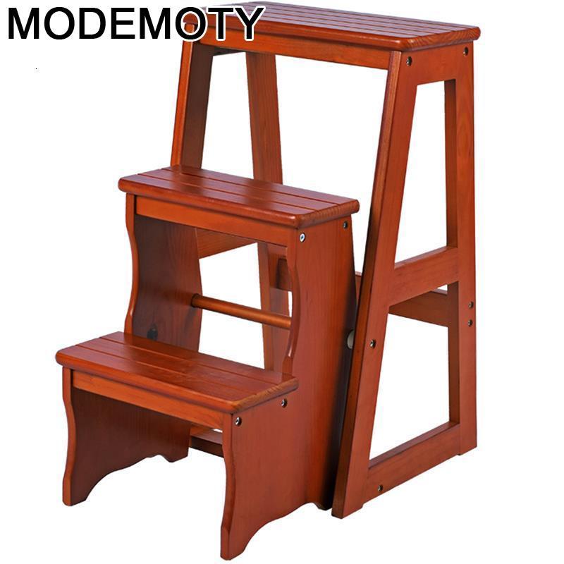 Pied-escalón plisado de madera para cocina, escalón Plegable, silla con Escalera, escalón,...