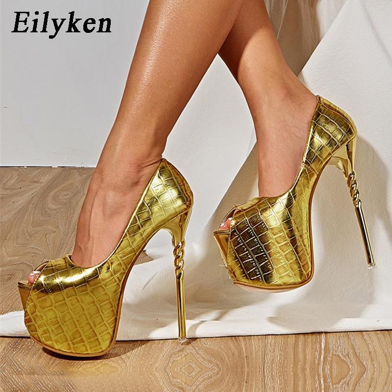 Eilyken 2021 جديد براءات الاختراع والجلود امرأة الزفاف مضخات مثير اللمحة تو ملهى ليلي متجرد خنجر عالية الكعب أحذية صنادل أرضية
