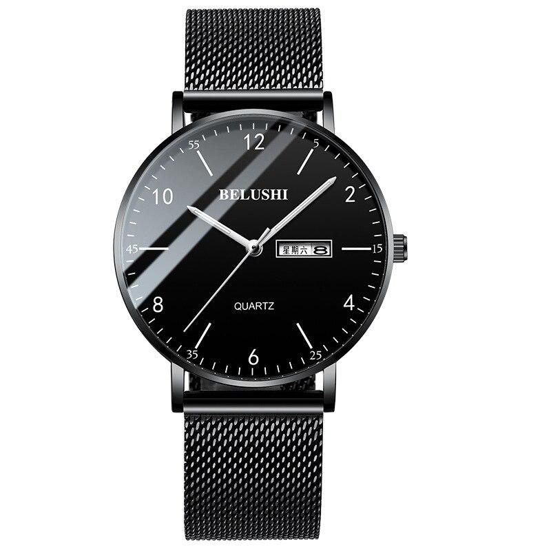 Reloj de hombre con purpurina, cuarzo informal de reloj de pulsera resistente al agua, brillo en la oscuridad, venta al por mayor, lotes de relojes de pulsera a granel, regalos únicos hombres negros