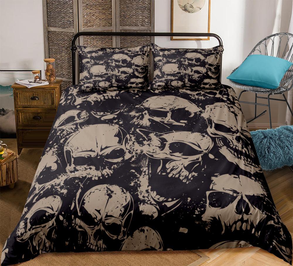Gothic Skull Bedding Set Dark style Bed Set Splashing ink Duvet Cover Boy Bedclothes queen king  3pcs queen king dropship