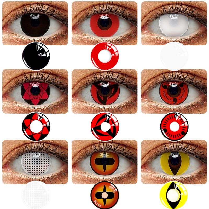 2 шт./пара Косплей Аниме контактные линзы для глаз Шаринган контактные линзы для глаз Uchiha Sasuke Hatake Kakashi цветные линзы для глаз