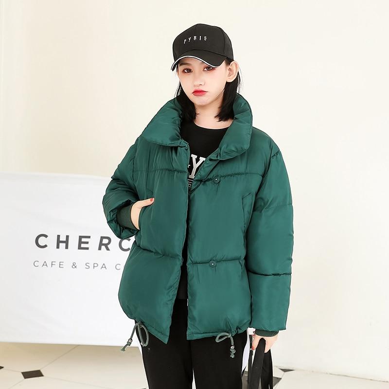 Winter Women Coat Cotton Solid Female Jacket 2020 Stand Collar Korean Style Loose Thick Mujer Parkas Free Shipping Kurtka Damska
