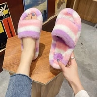 women house slippers with fur large size mixed color indoor winter slippers for woman flats basic bedroom shoes fashion