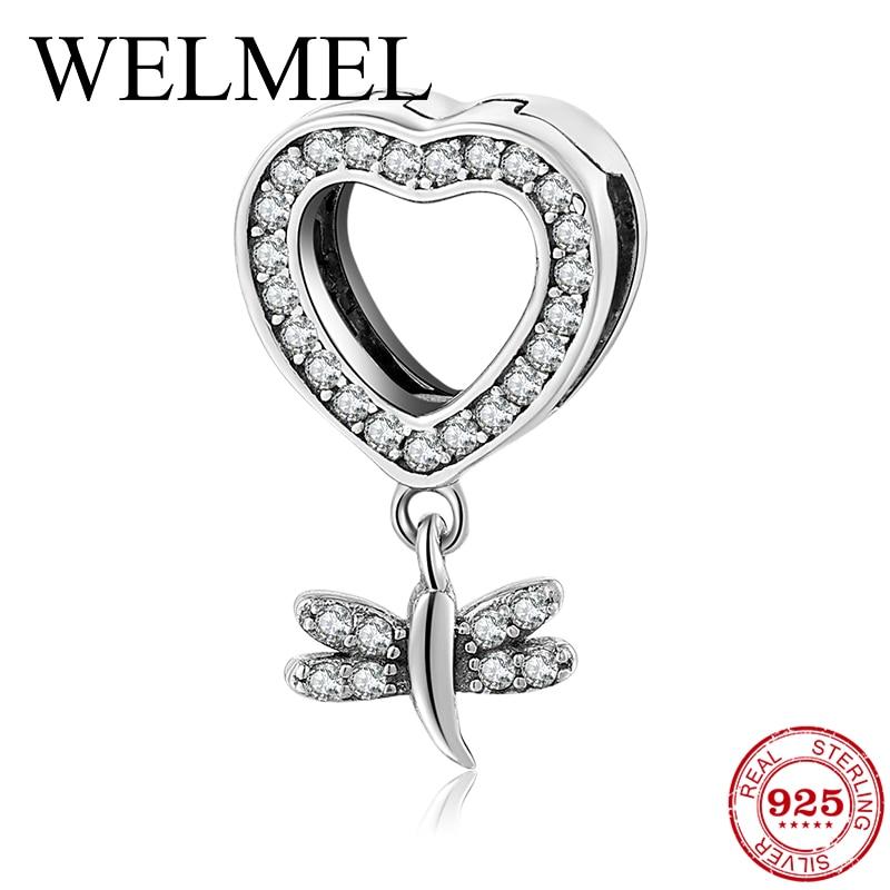 Auténtico colgante de circonia cúbica de Plata de Ley 925 deslumbrante, abalorio de Clip para pulsera de reloj de reflexión Original, regalos de joyería para mujer
