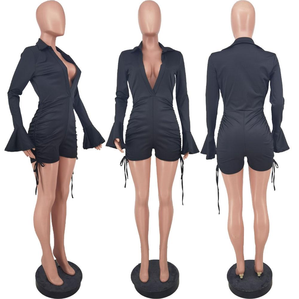Bulk Items Wholesale Lots Women's Short Jumpsuit Deep V Neck Full Flare Sleeve Romper Chic Fashion Shirring Drawstring Overall enlarge