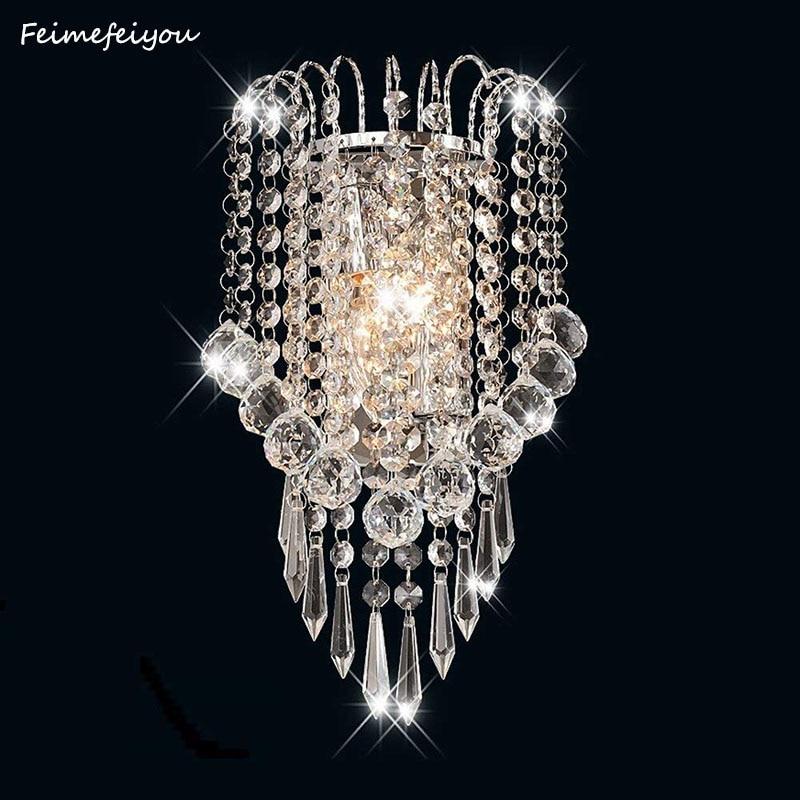 Luces-مصباح حائط من الفولاذ المقاوم للصدأ ومرآة كريستالية led حديثة E14 ، مصباح حائط للممر وغرفة المعيشة بجانب السرير