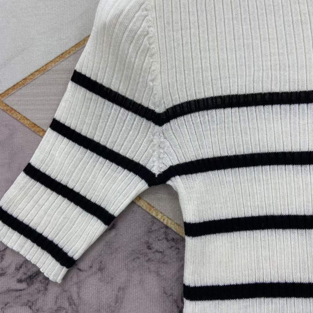 high collar short sleeve knitted pull early spring new elegant elastic tight contrast stripe slant shoulder open button small enlarge