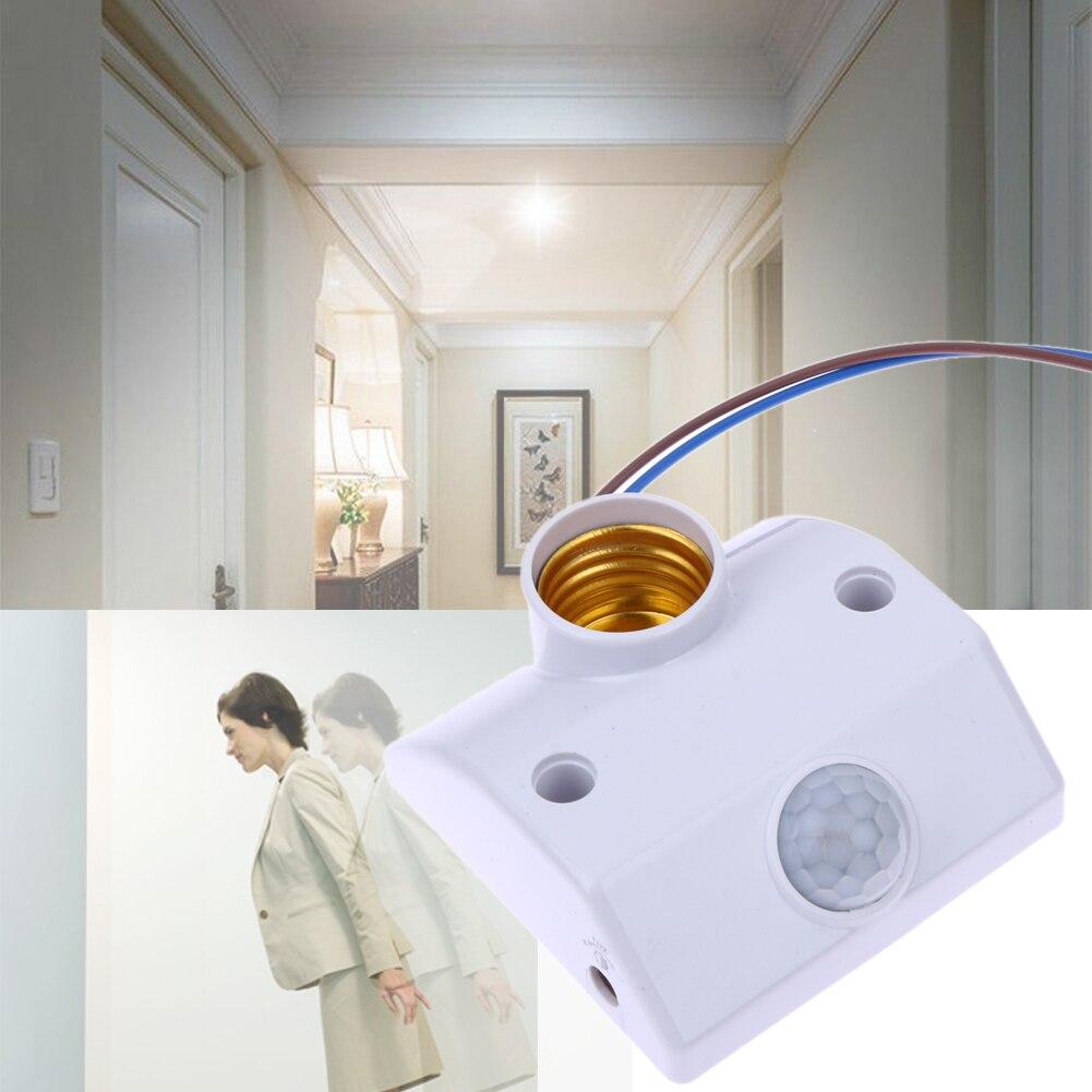 Sensor de movimiento infrarrojo E27 AC220 50/60HZ soporte de lámpara automático, Control de luz, Base de interruptor inteligente de retardo con tornillo E27