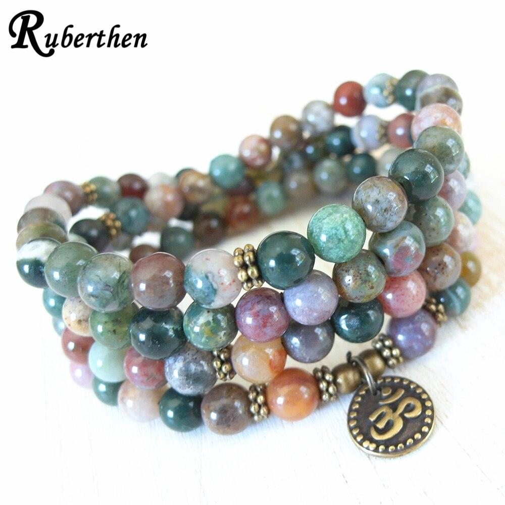Ruberthen Natural Fance Beads 108 Mala pulsera ágatas indias Ohm pulsera con dijes hecha a mano equilibrio energía Yoga pulsera