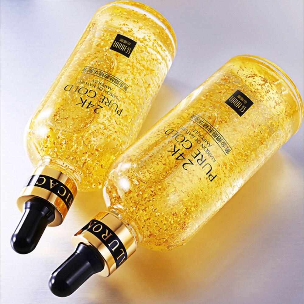 Сыворотка для лица с гиалуроновой кислотой 24 К, увлажняющая, усадочная, осветляющая, никотинамид, уход за кожей, подтягивающая, укрепляющая эссенция