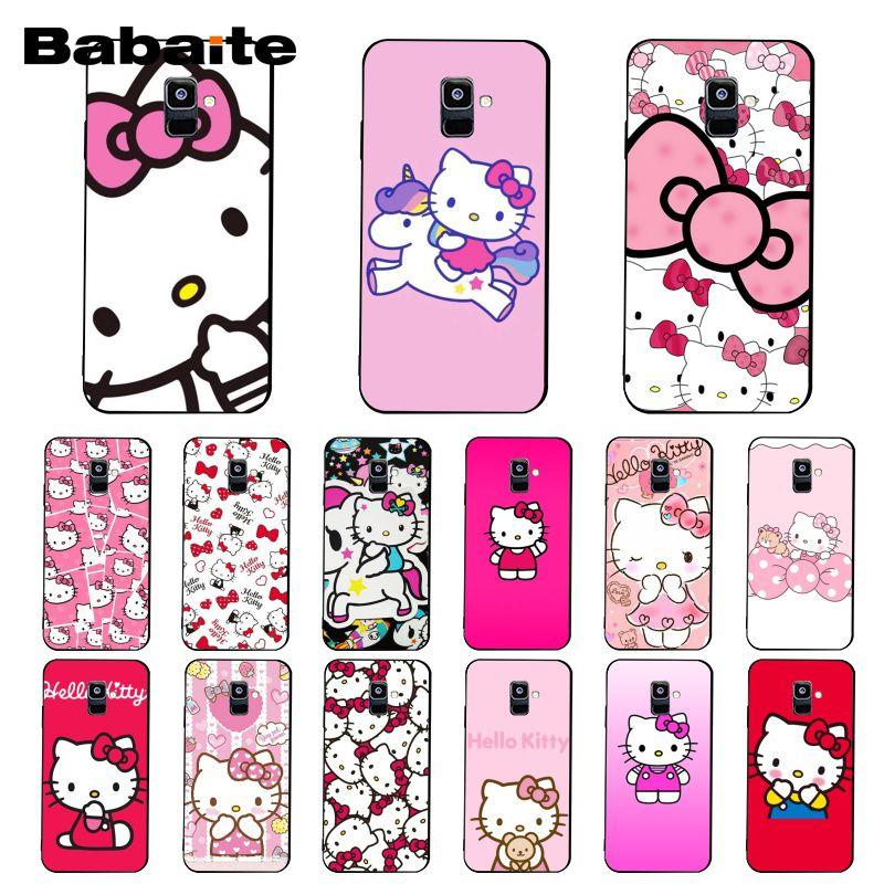 Babaite Cute Kawaii Hello Kitty Phone Case For Samsung Galaxy A7 A50 A70 A40 A20 A30 A8 A6 A8 Plus A9 2018