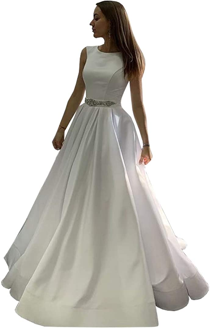 luxury long tail satin red bling ball gown wedding dresses newest sexy designer bridal wedding gowns with sleeves Women's Scoop Neck Ball Gown Wedding Dresses Long Satin Wedding Gowns with Pockets Sexy Wedding Dress