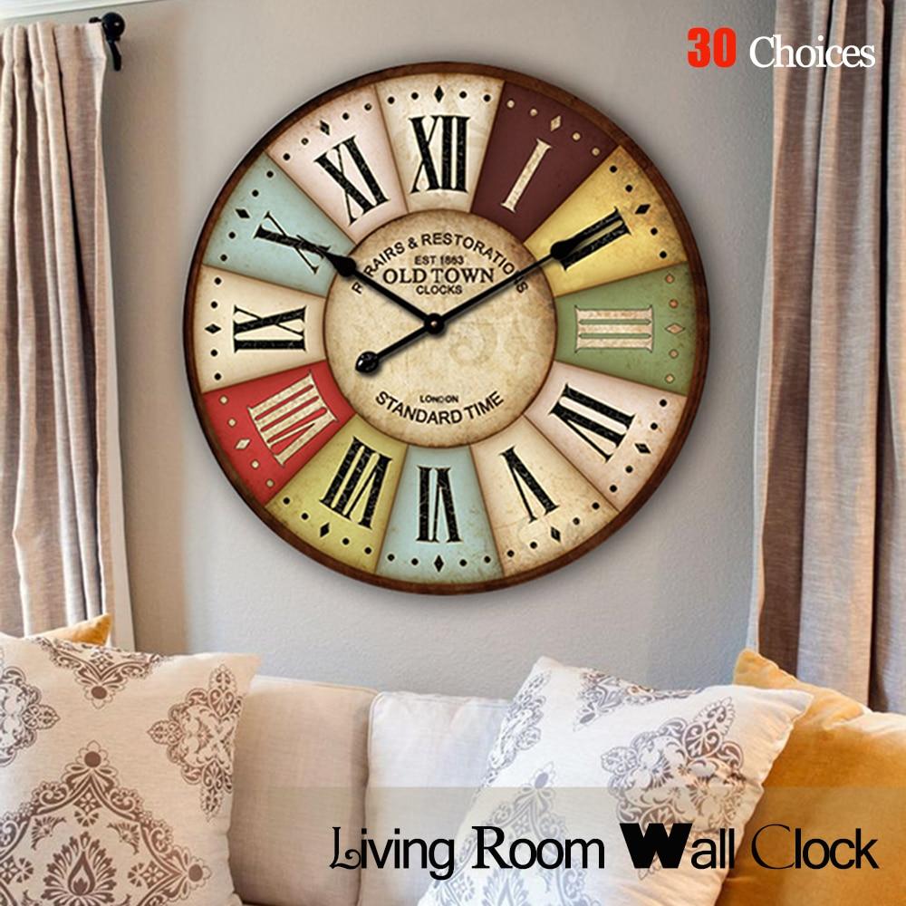 30 choices European Retro часы Quartz wall clocks Wooden Wall Clock for living Room bedroom home decor часы настенные