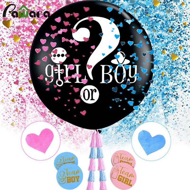 Género descubierto Ballon chica o niño negro látex pegatinas de globo confeti Kwastje Baby Shower género descubrir cuentos de hadas