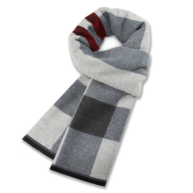 New Winter Fashion Striped Plaid Scarf High Quality Cashmere Casual Business Man Scarf Husband Father Gift Match Dark gray