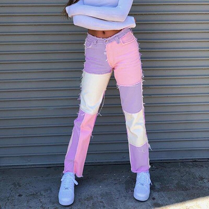 بنطلون جينز حريمي مرتفع الخصر وردي عتيق ملابس الشارع الشهير الهيب هوب مستقيم جينز حريمي من قماش الدنيم بنطلون واسع الساق الجمالي