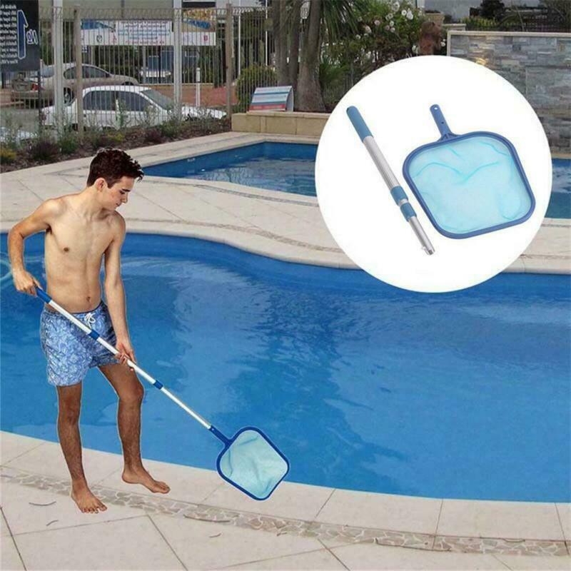 Limpiador azul caliente piscina red hoja rastrillo malla Skimmer con poste de aluminio telescópico piscinas y Spas