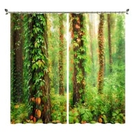 digital printing of green tree and vine pictures black wire insulation curtains suitable for bedrooms