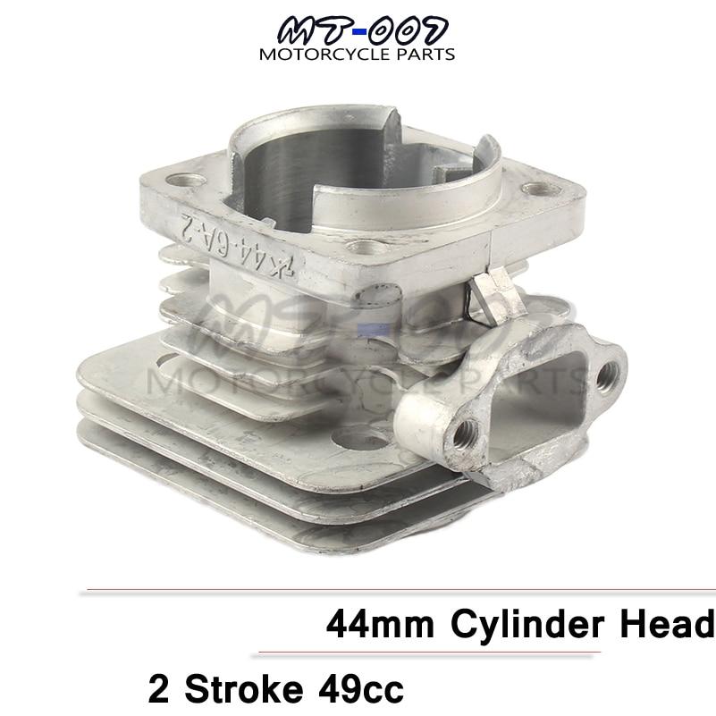 Culata Minimoto de 44mm para motor de 2 tiempos 49cc, piezas de motor chino, bicicleta de cross de bolsillo, Mini niños ATV Quad
