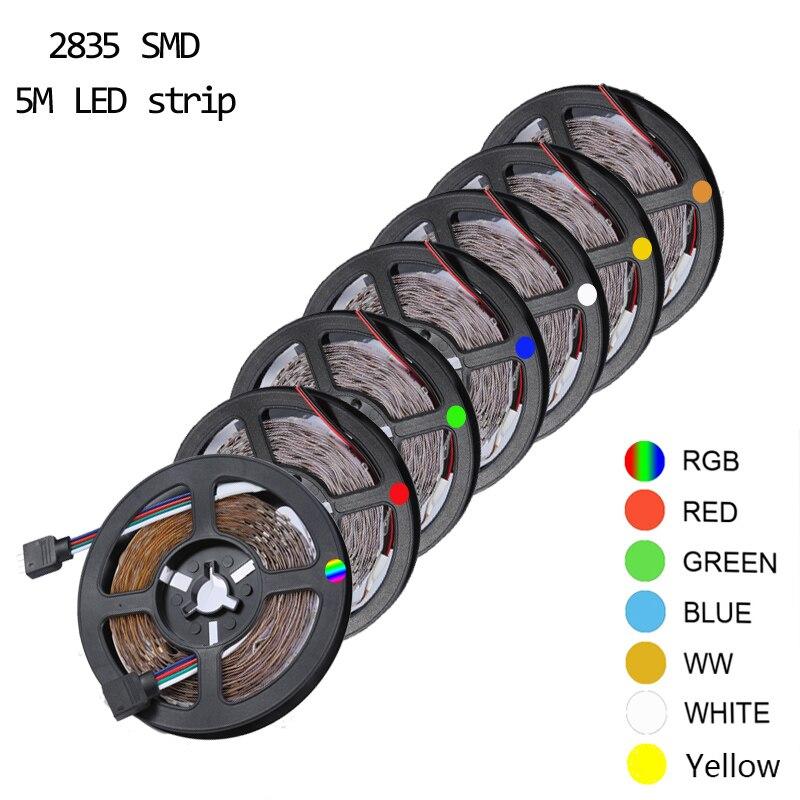 Não-impermeável rgb led strip light 5m 300leds dc12v 60 led/m corda de iluminação flexível casa decorativa lâmpada de fita