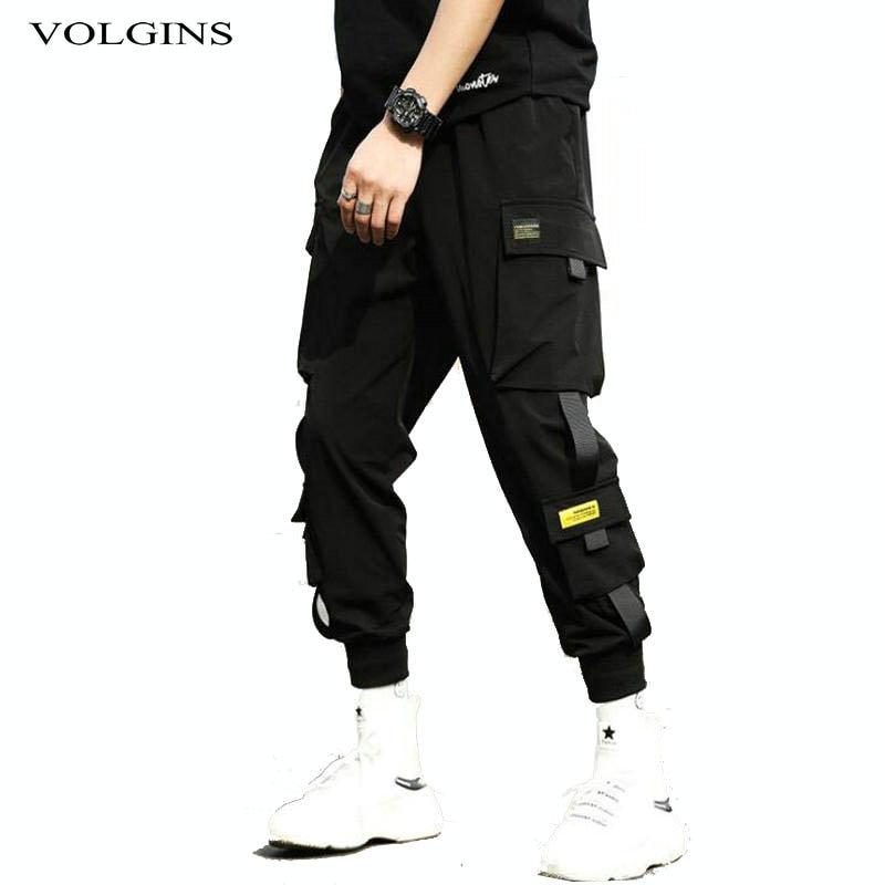 Streetwear Hip Hop Black Harem Pants Men Elastic Waist Punk Pants With Ribbons Casual Slim Jogger Pa