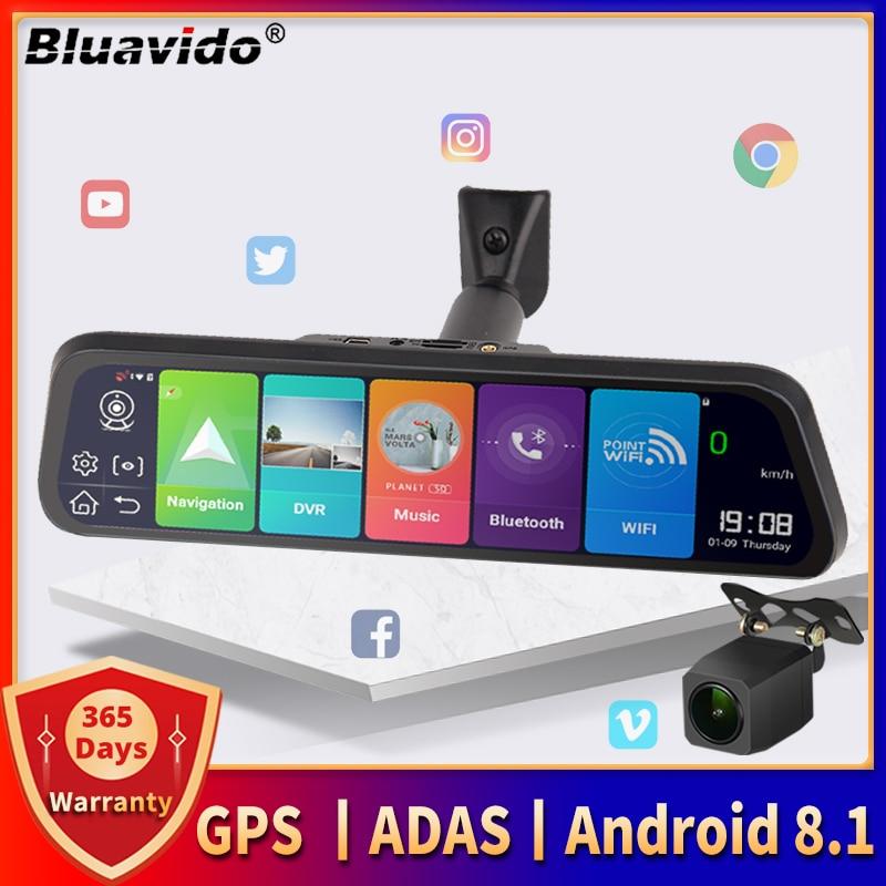 Видеорегистратор Bluavido на зеркало заднего вида, 10 дюймов, 4G, Android 8,1