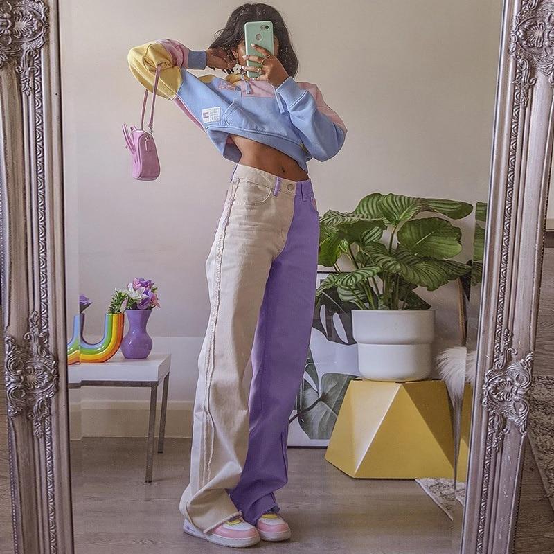 Color Block Denim Pant Fashion Casual Patchwork Summer Straight Pant 2021 High Waist Button Pocket Wide Leg Loose Women Pant